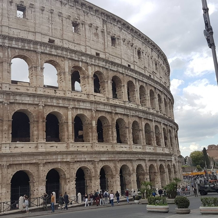close up of the Colusseum in Rome