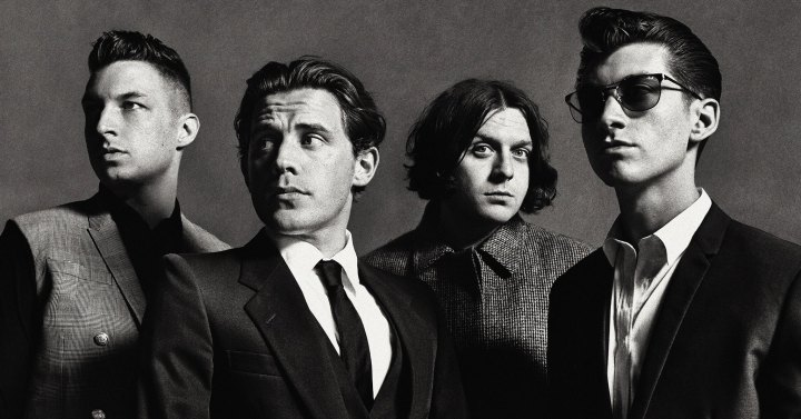 arctic monkeys in black and white posing